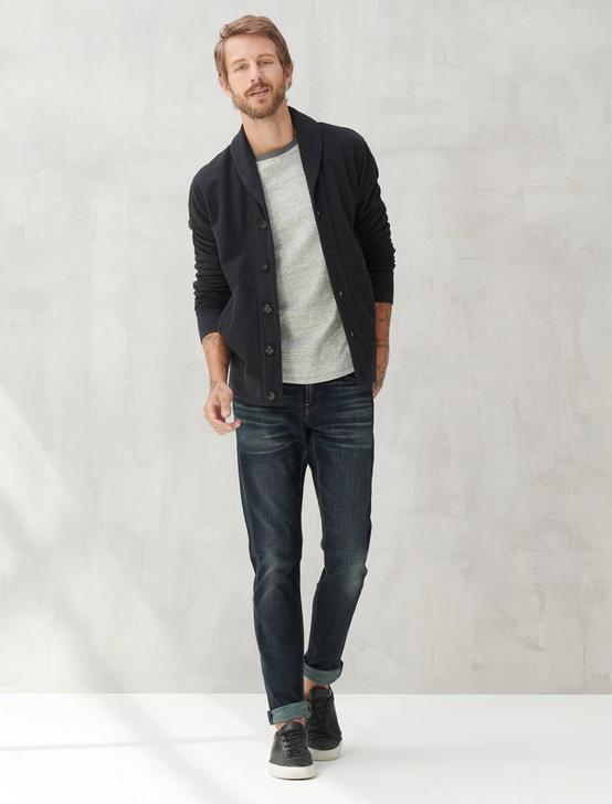 SUEDED TERRY CARDIGAN, JET BLACK, productTileDesktop