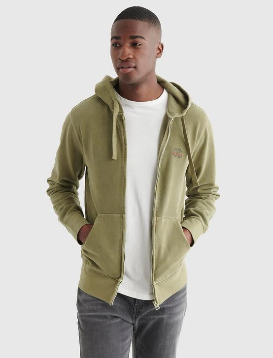 SUEDED TERRY LUCKY BRAND HOODIE, DESERT SAGE, productTileDesktop