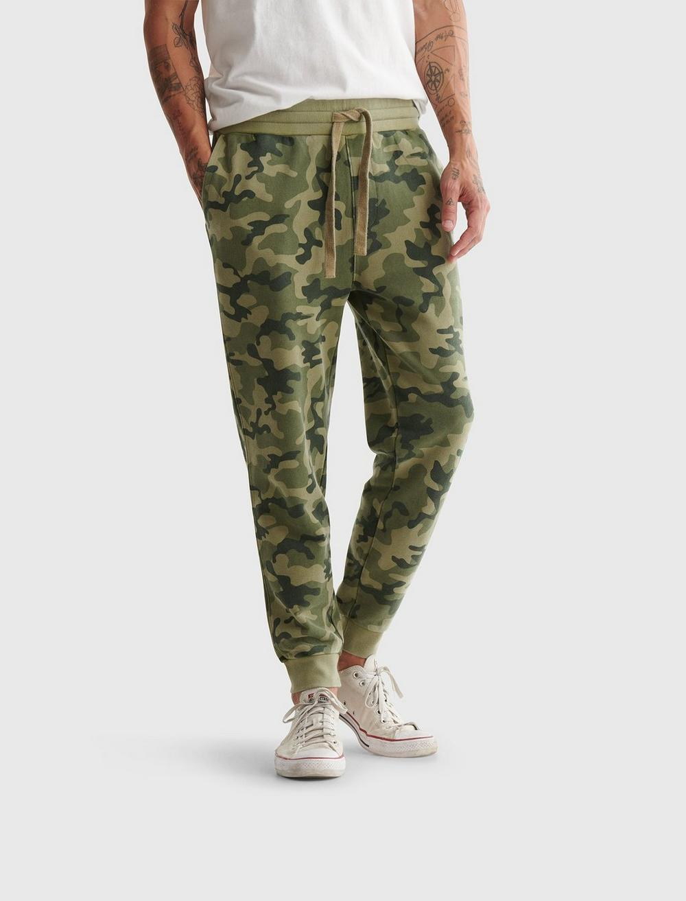 SUEDED TERRY CAMO JOGGER, image 1