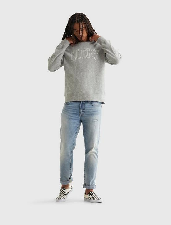 SUEDED TERRY LUCKY BRAND CREW, HEATHER GREY, productTileDesktop