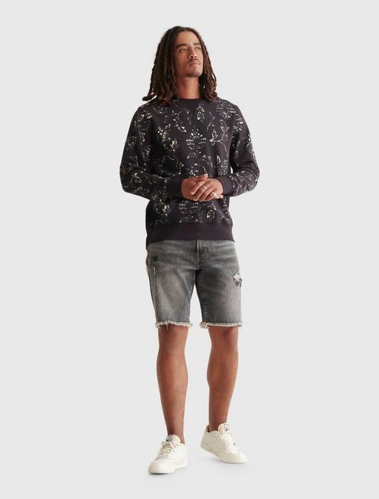 NOVELTY PRINT SUEDED TERRY CREW, BLACK MULTI, productTileDesktop