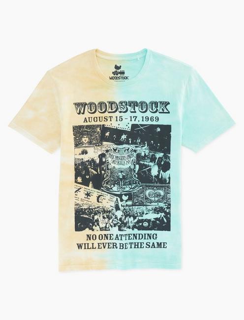 WOODSTOCK TIE DYE TEE, BLUE/YELLOW