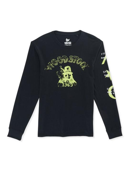 WOODSTOCK HAT GUY LONG SLEEVE TEE, JET BLACK, productTileDesktop