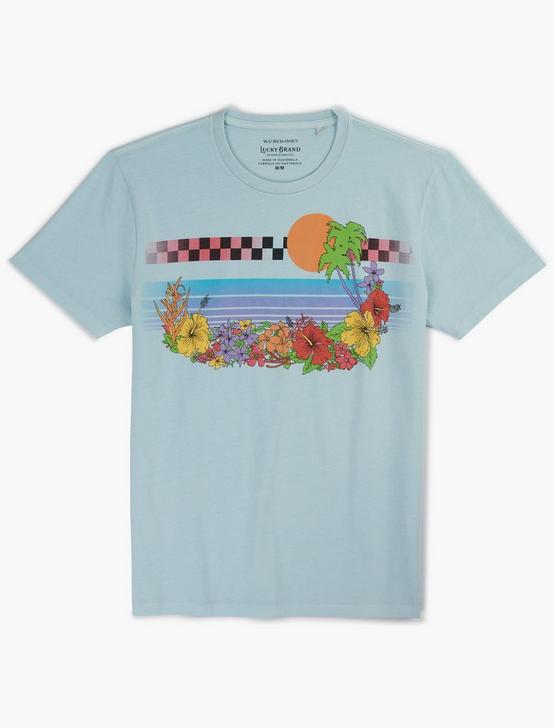 TROPICAL CHEST STRIPE TEE, BLUE GLOW, productTileDesktop