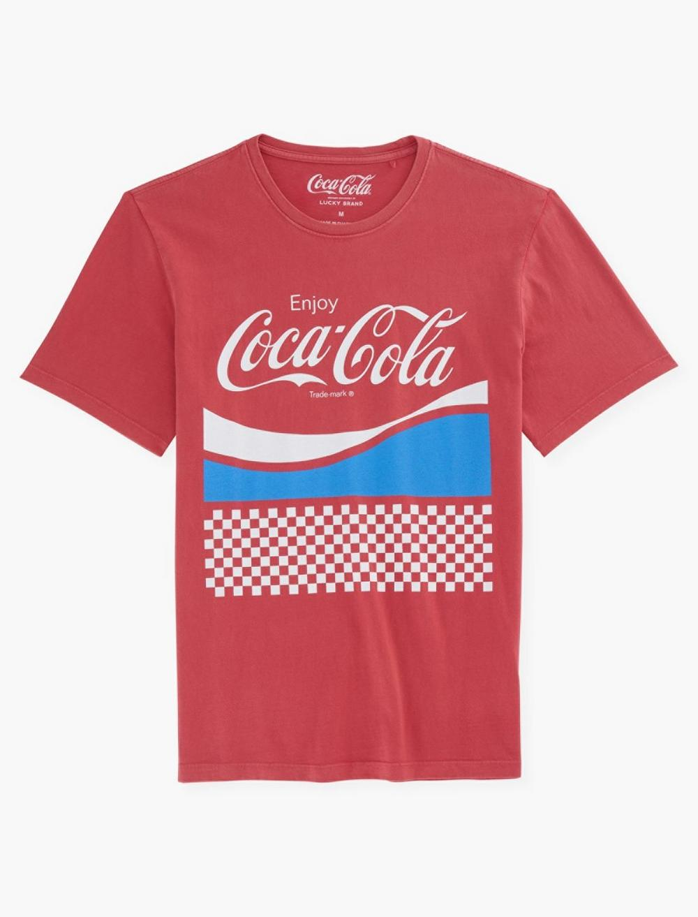 Women's 70s Shirts, Blouses, Hippie Tops Lucky Brand Coca Cola Checker T-Shirt Size Small in Red $49.50 AT vintagedancer.com