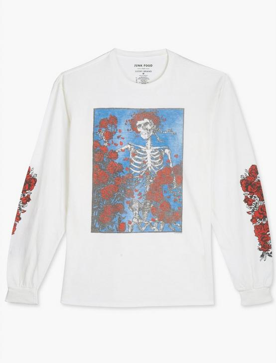 GRATEFUL DEAD SKELETON & ROSES TEE, BRIGHT WHITE, productTileDesktop