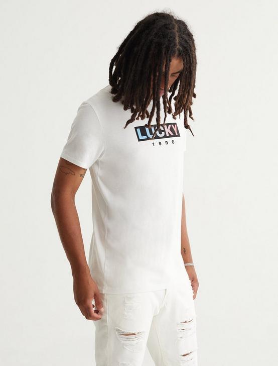 LUCKY BAR LOGO TEE, BRIGHT WHITE, productTileDesktop