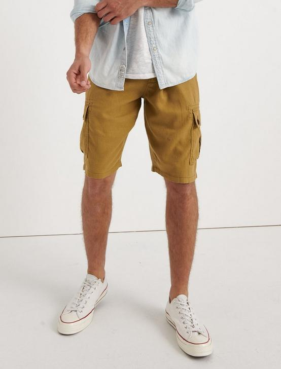 LINEN BLEND CARGO SHORT, ANTIQUE BRONZE, productTileDesktop