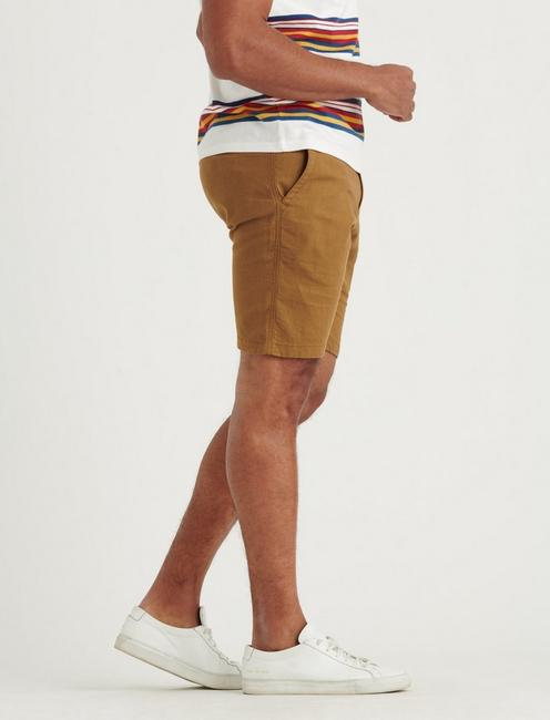 LINEN FLAT FRONT SHORT, BUZZARD BROWN