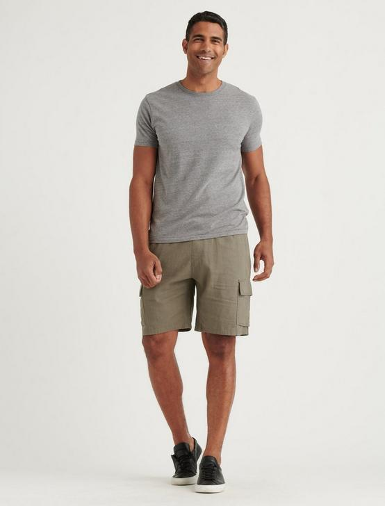 LINEN CARGO SHORT, CHARCOAL GREY, productTileDesktop