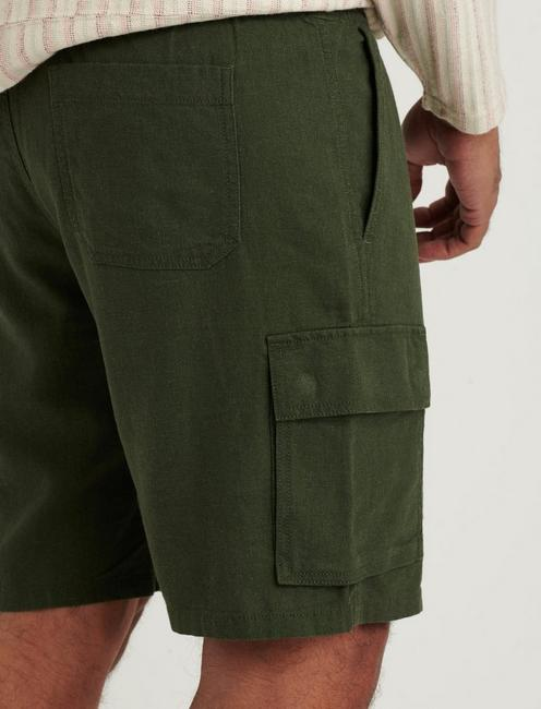 LINEN CARGO SHORT, FOREST NIGHT