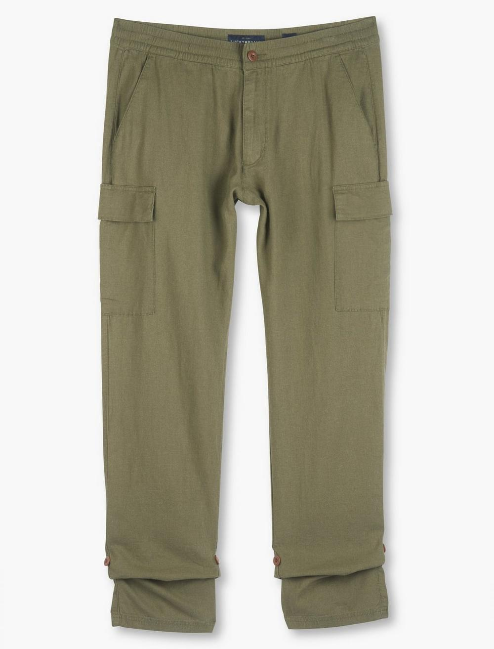 LINEN PULL UP CARGO PANT, image 1