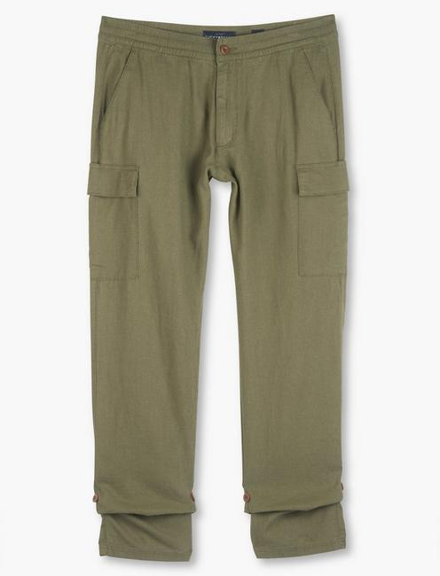 LINEN PULL UP CARGO PANT,