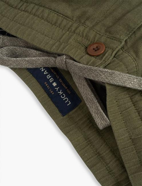 LINEN PULL UP CARGO PANT, BURNT OLIVE