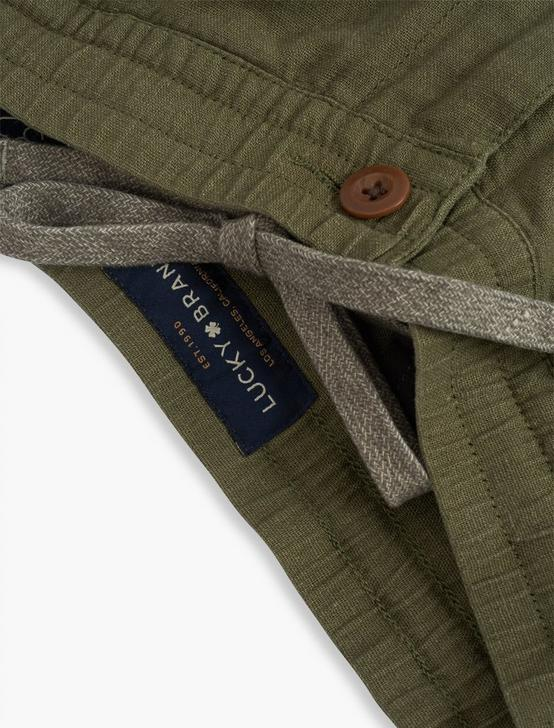 LINEN PULL UP CARGO PANT, BURNT OLIVE, productTileDesktop
