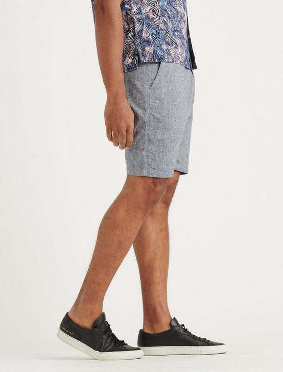 CHAMBRAY FLAT FRONT SHORT, CHAMBRAY, productTileDesktop