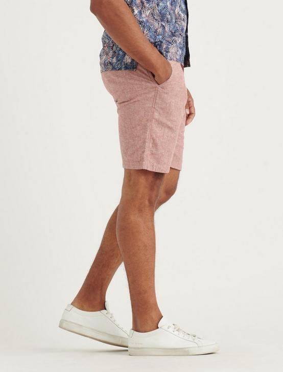 CHAMBRAY FLAT FRONT SHORT, RED CHAMBRAY, productTileDesktop