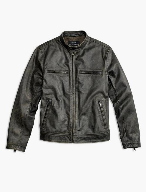 LEATHER JACKET, FADED BLACK