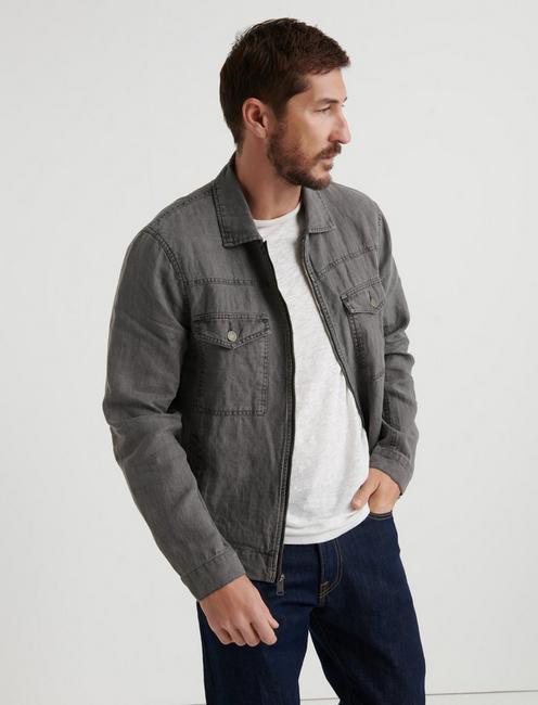 1ec97334e29a7 Americana Linen Zip Front Jacket