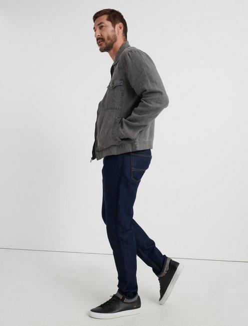 Americana Linen Zip Front Jacket, CHARCOAL