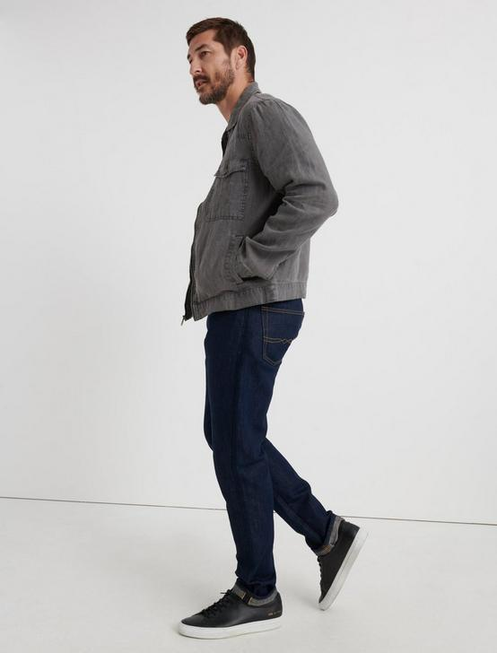 Americana Linen Zip Front Jacket, CHARCOAL, productTileDesktop