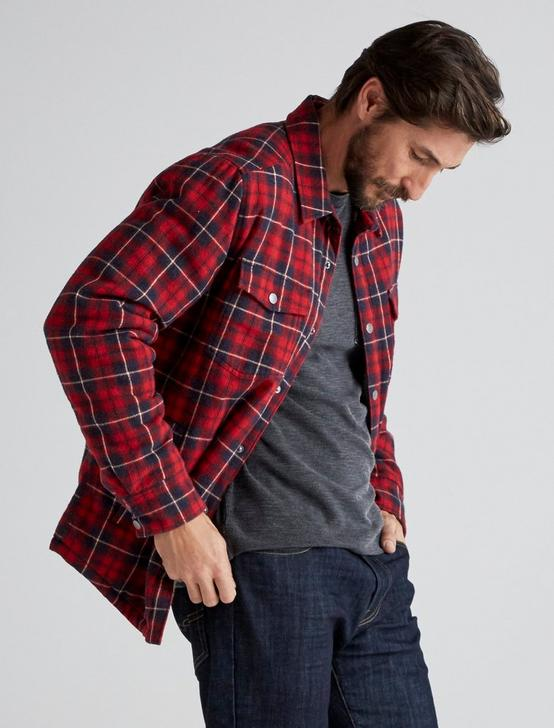 PLAID SHERPA SHIRT JACKET, RED PLAID, productTileDesktop