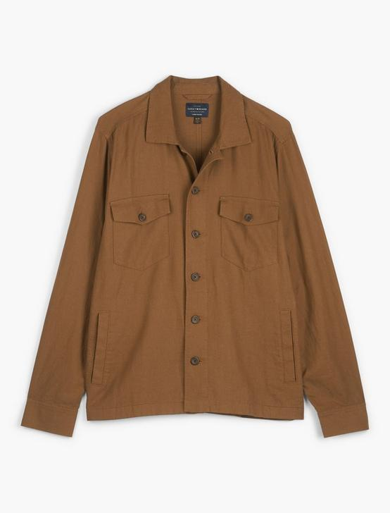 LINEN BLEND SHIRT JACKET, BUZZARD BROWN, productTileDesktop
