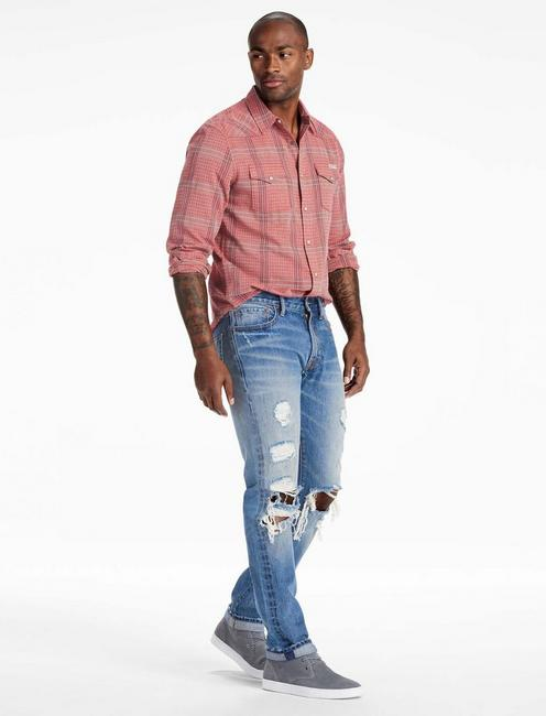 Long Sleeve San Gabriel Western Shirt, RED PLAID