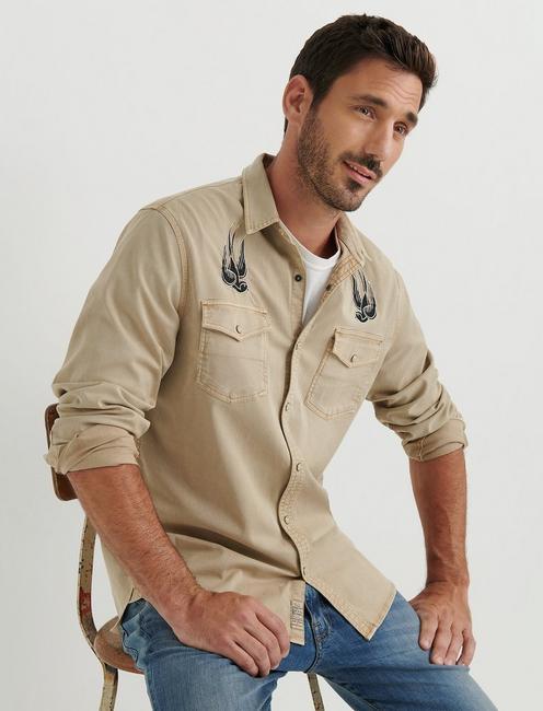 No Yoke Patchwork Western Shirt,