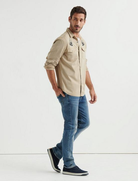 No Yoke Patchwork Western Shirt, KHAKI, productTileDesktop