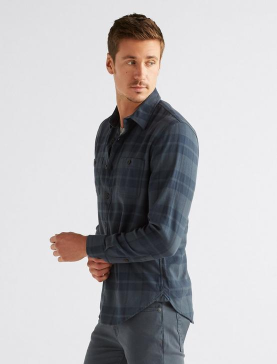 Long Sleeve CLEAN Two Pocket WORK WEAR Shirt, NAVY PLAID, productTileDesktop