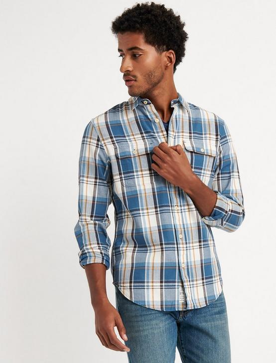 Twill Workwear Shirt, BLUE PLAID, productTileDesktop