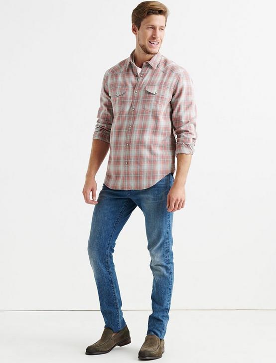 Dobby Western Shirt, RED PLAID, productTileDesktop