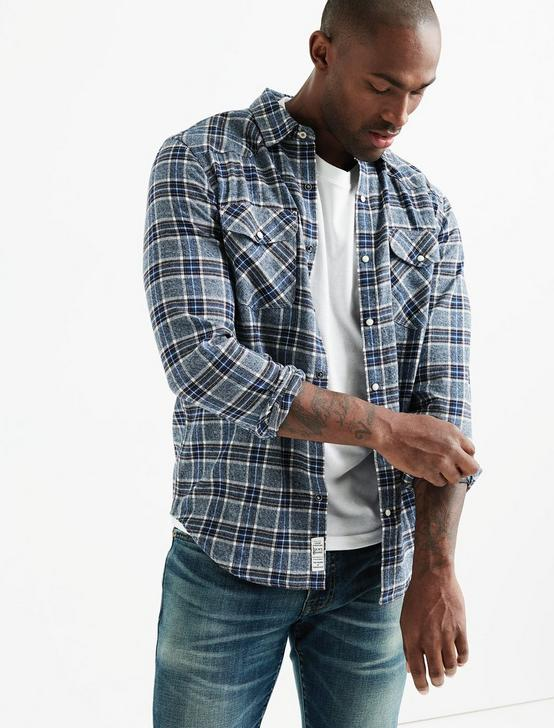 Flannel Western Shirt, BLUE PLAID, productTileDesktop