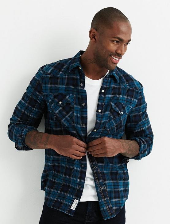 Santa Fe Western Flannel Shirt, BLUE PLAID, productTileDesktop