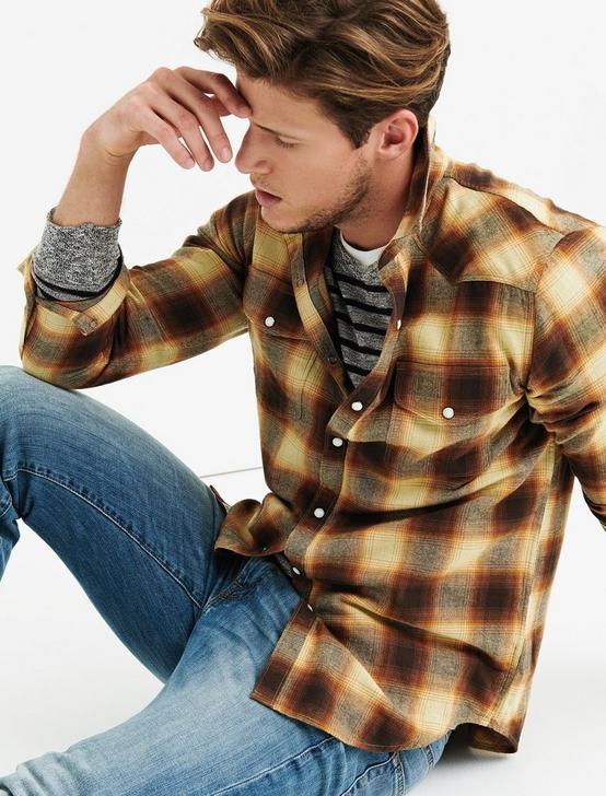 Flannel Western Shirt, GOLD MULTI, productTileDesktop