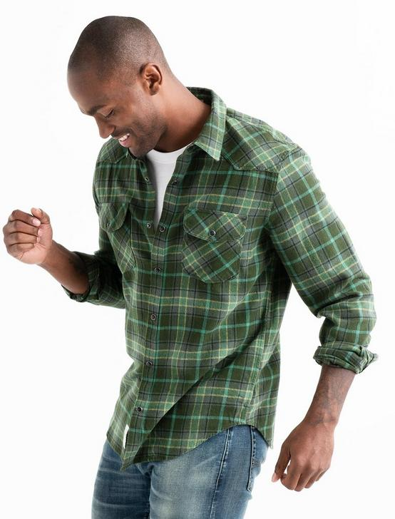 Flannel Western Shirt, GREEN PLAID, productTileDesktop