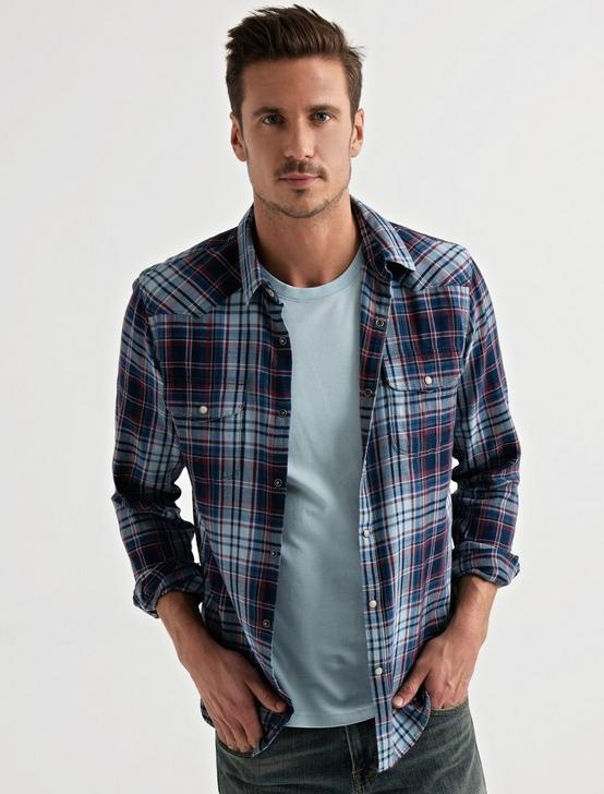 Indigo Western Shirt, RED/BLUE PLAID, productTileDesktop
