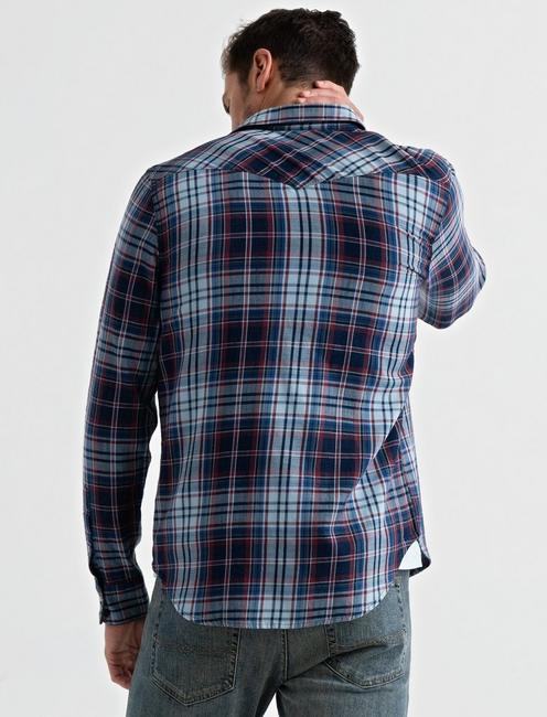 Indigo Western Shirt, RED/BLUE PLAID