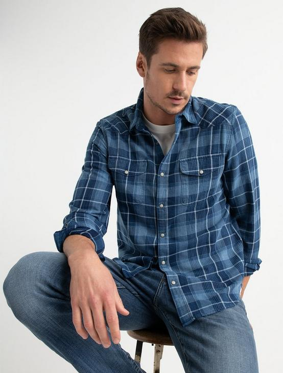 Washed Indigo Santa Fe Western, BLUE PLAID, productTileDesktop