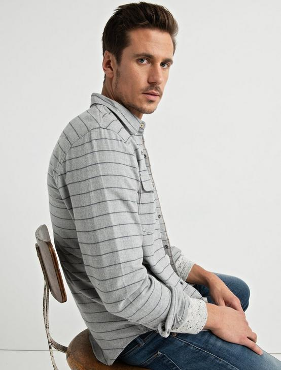 Striped Western Shirt, GREY STRIPE, productTileDesktop