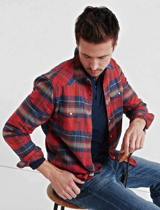 Flannel Western Shirt, RED PLAID, productTileDesktop