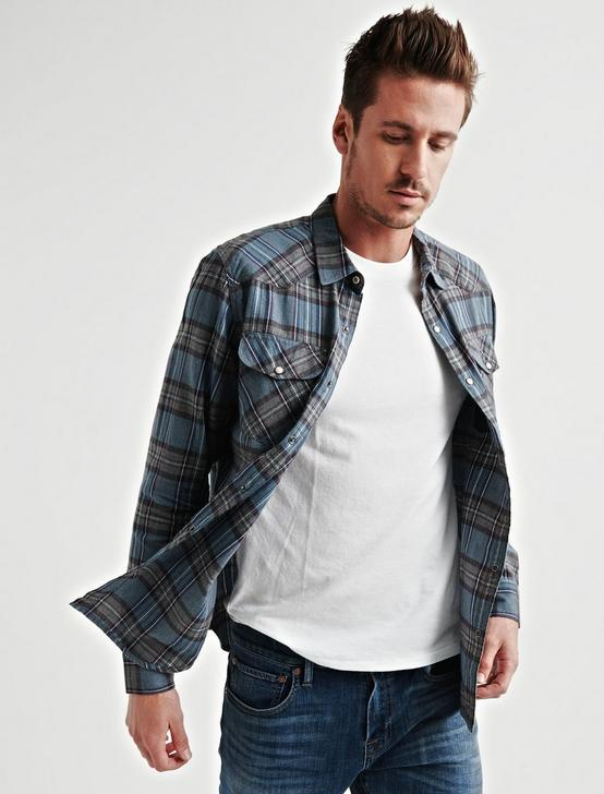 Mateo Western Shirt, BLUE PLAID, productTileDesktop