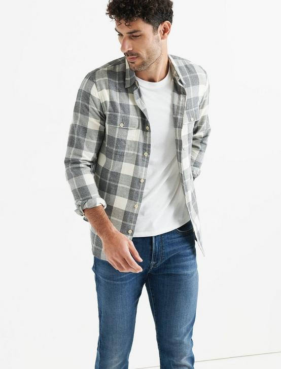 Mateo Twill Workwear Shirt, GREY PLAID, productTileDesktop