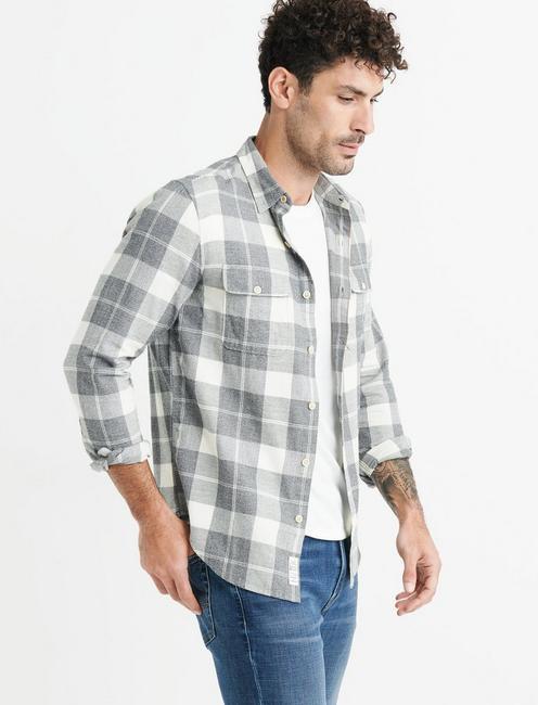 Mateo Twill Workwear Shirt, GREY PLAID