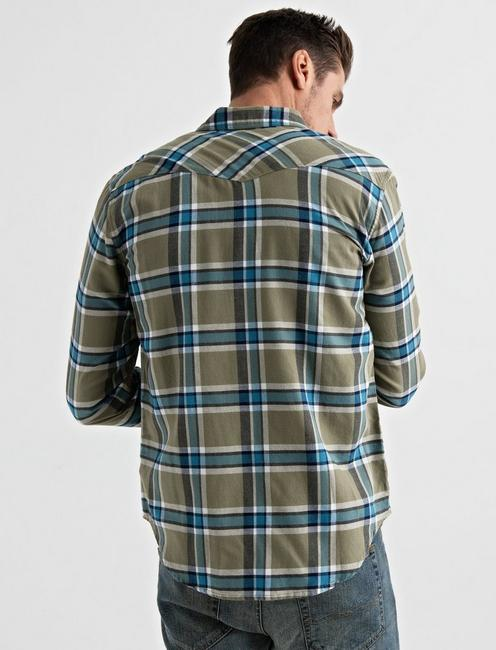 LONG SLEEVE SANTA FE WESTERN SHIRT, GREEN PLAID