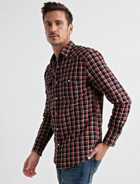 Twill Western Shirt, BLUE/RED PLAID, productTileDesktop