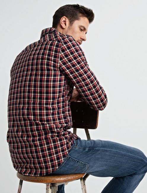 Twill Western Shirt, BLUE/RED PLAID