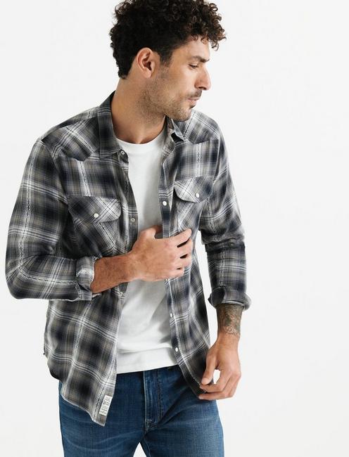 Dobby Western Shirt, BLACK PLAID