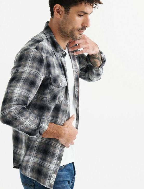 Dobby Western Shirt, BLACK PLAID, productTileDesktop